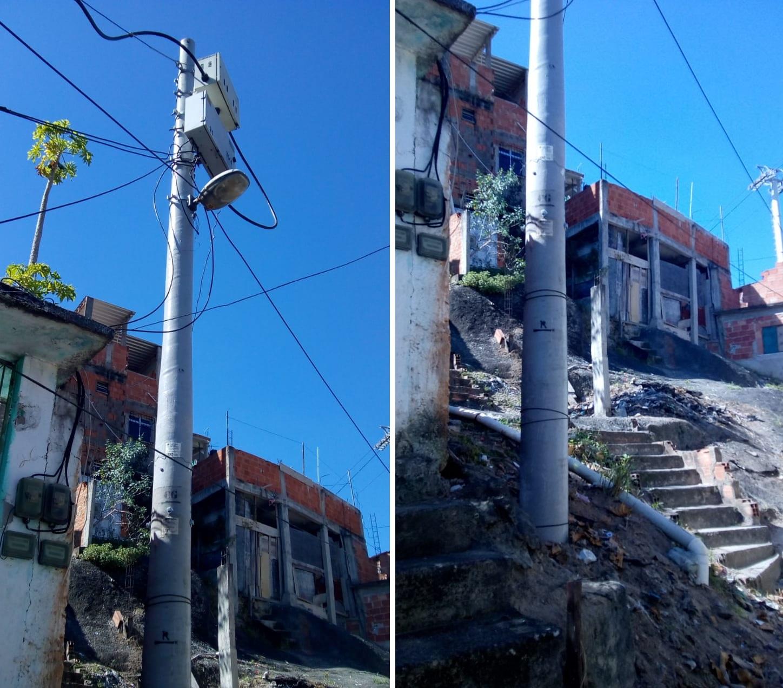 Light faz o reparo de poste que pegou fogo na Fazendinha, Complexo do Alemão