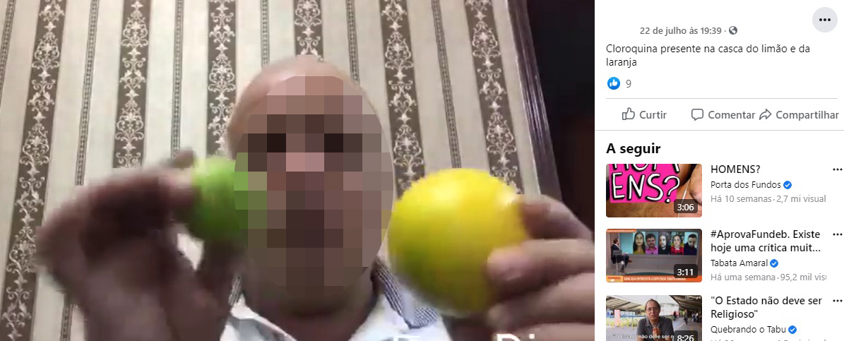 Cloroquina e ivermectina NÃO estão presentes na casca da laranja e do limão