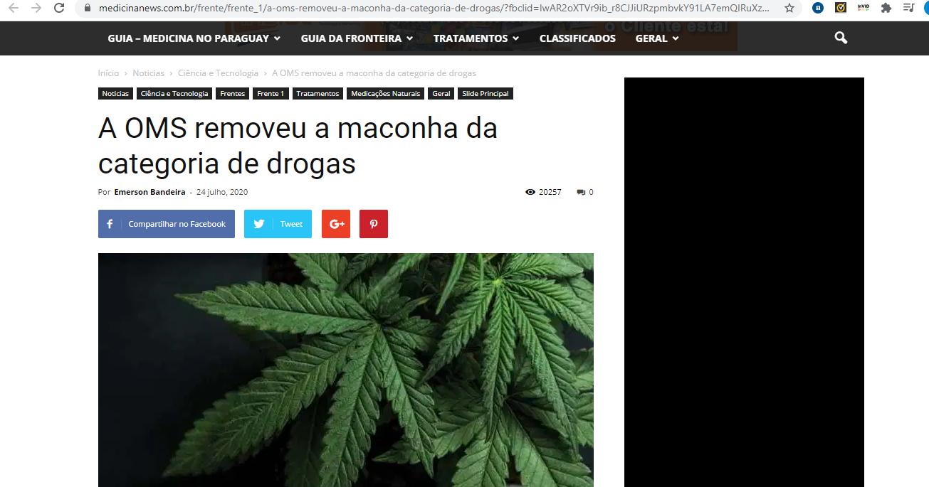 OMS não removeu a maconha da categoria de drogas
