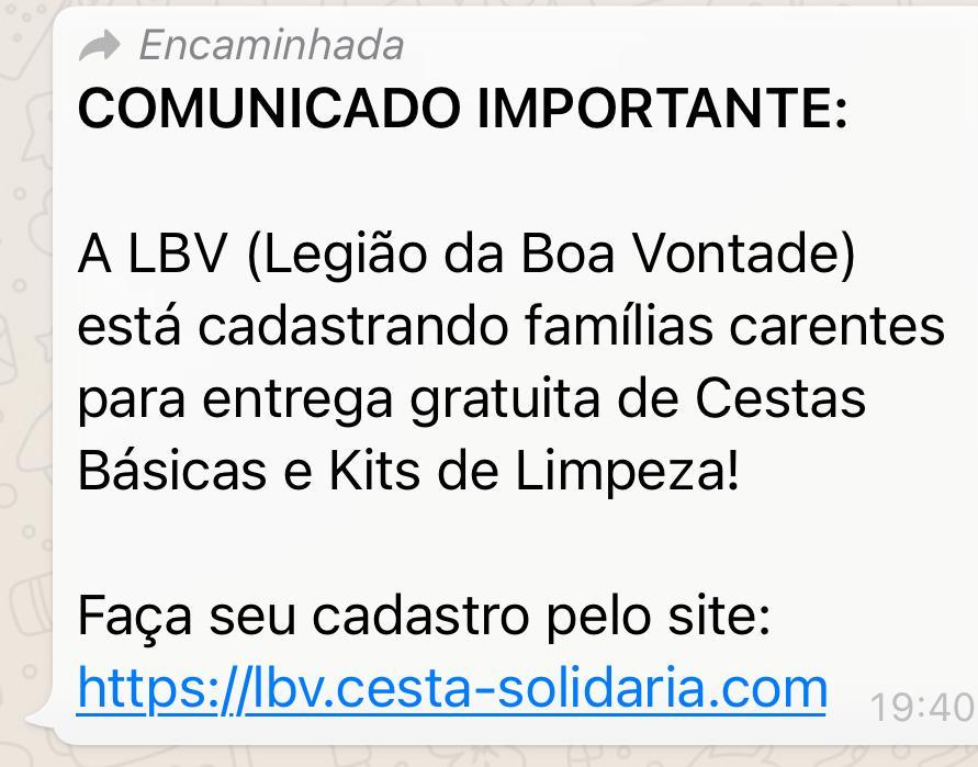 Legião da Boa Vontade NÃO está realizando cadastros pela internet para distribuição de cestas