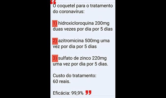 Coquetel com hidroxicloroquina NÃO tem eficácia de 99,9% contra Covid-19