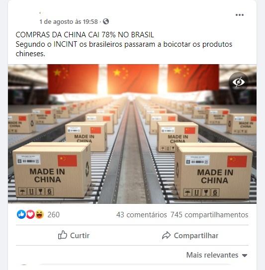 NÃO é comprovado que as compras da China caíram 78% no Brasil por boicote dos brasileiros