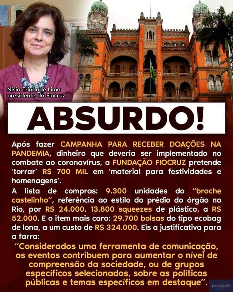 Fiocruz não irá gastar 700 mil reais em material para festividades e homenagens