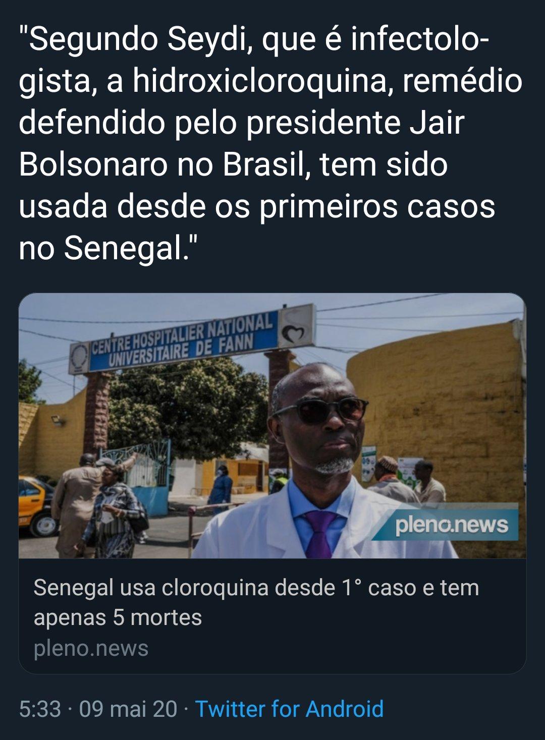 Senegal NÃO tem apenas cinco mortes por Covid-19 e NÃO usa cloroquina desde o primeiro caso