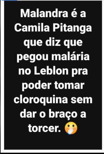 Camila Pitanga NÃO contraiu Covid-19 e fingiu ter malária para tomar cloroquina