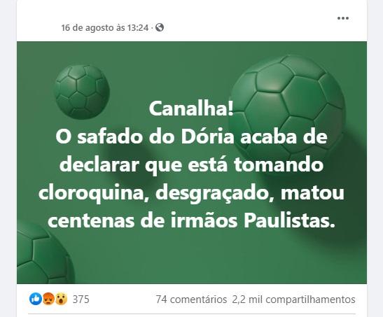 João Doria NÃO afirmou ter usado cloroquina para tratar Covid-19
