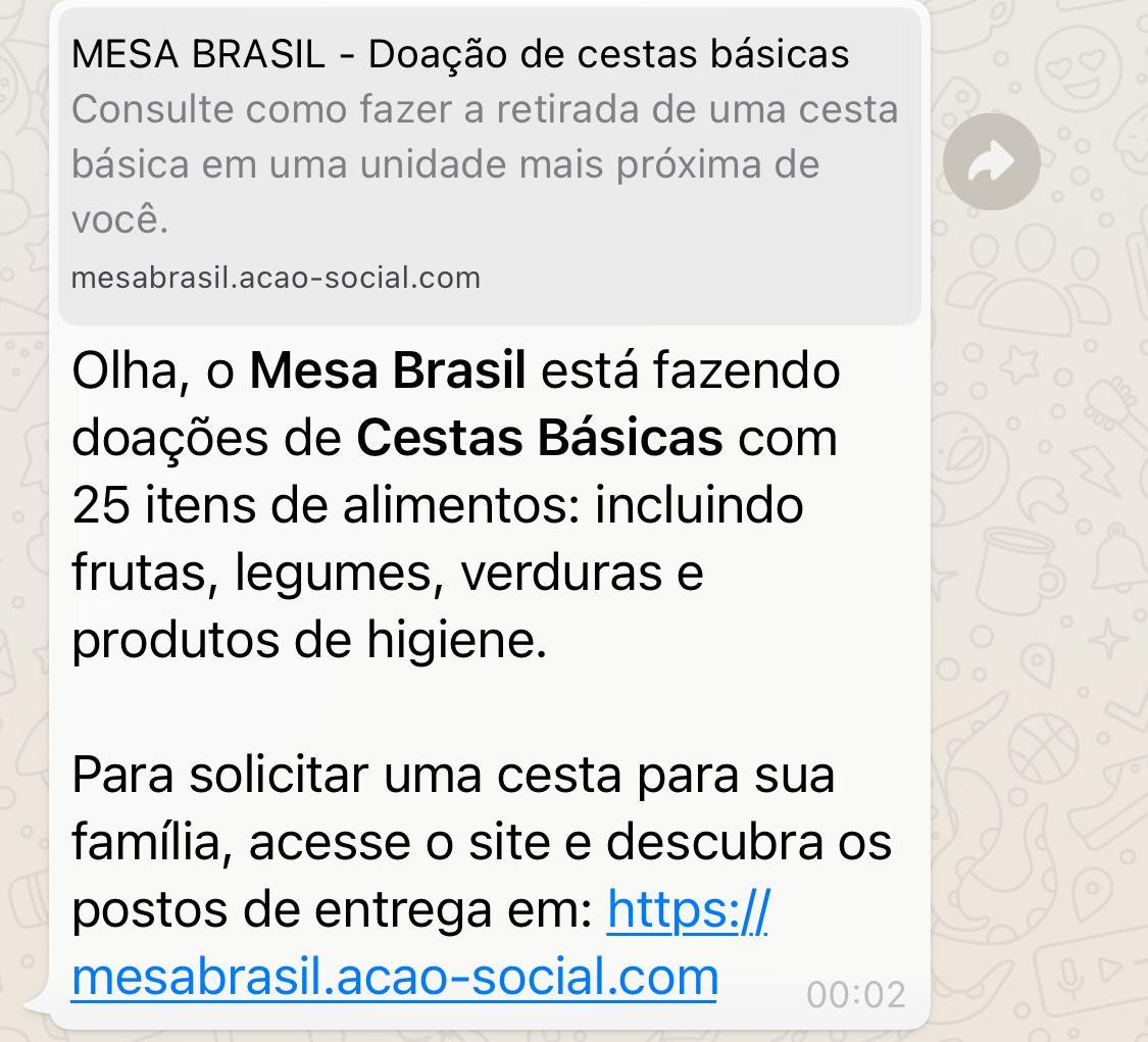 Mesa Brasil NÃO está doando cestas básicas através de link do WhatsApp
