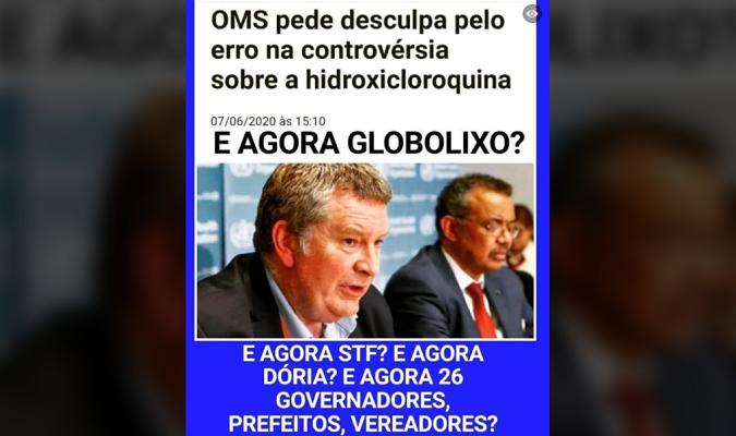 É falso que OMS passou a recomendar hidroxicloroquina e pediu desculpas por 'erro'