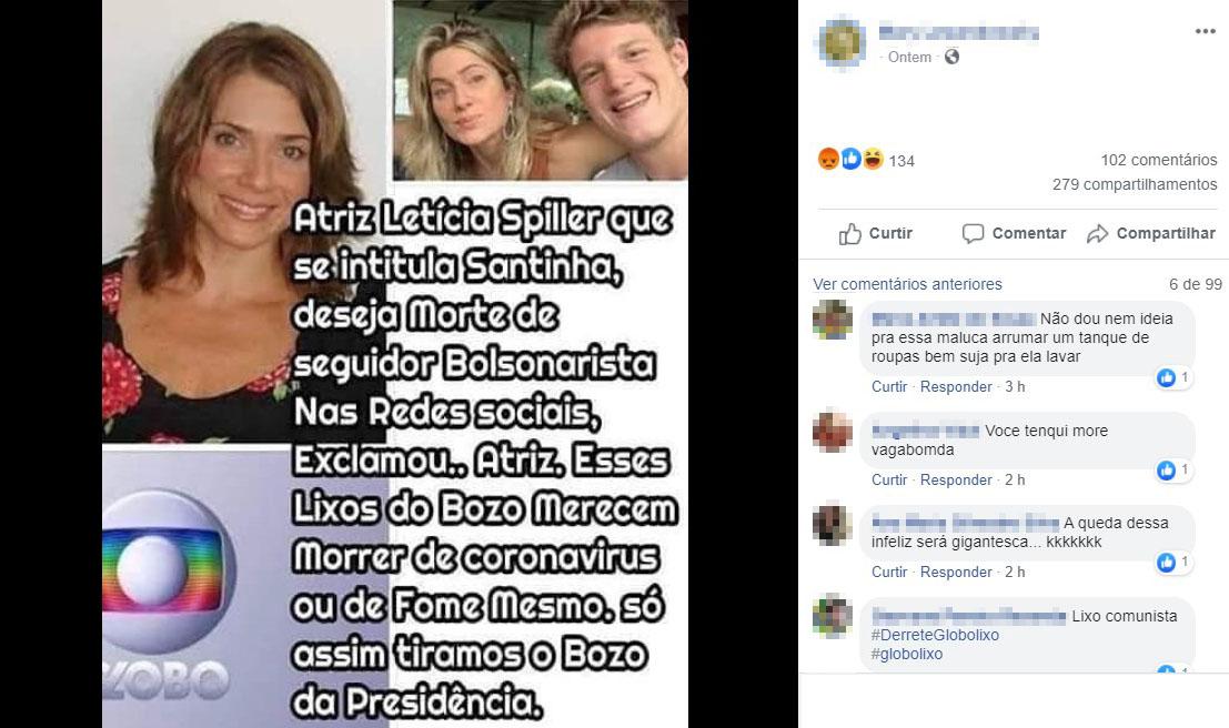 Atriz Letícia Spiller NÃO desejou a morte de apoiadores do presidente Jair Bolsonaro