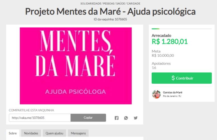 'Mentes da Maré' cria vakinha online para manter projeto de  atendimento psicológico gratuito aos moradores