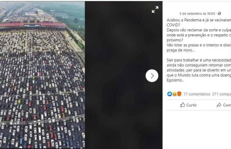 Foto de engarrafamento NÃO  é do feriado do dia 7 de setembro no Brasil