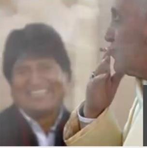 Papa Francisco NÃO está fumando com Evo Morales
