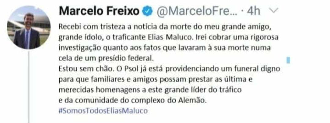 Marcelo Freixo NÃO publicou no Twitter lamentações da morte de Elias Maluco