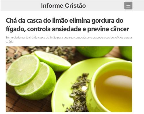 Chá da casca do limão NÃO previne câncer e elimina gordura do fígado