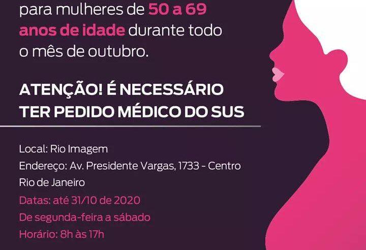 Mulheres de 50 a 69 anos podem fazer mamografia sem agendamento durante todo o mês de outubro