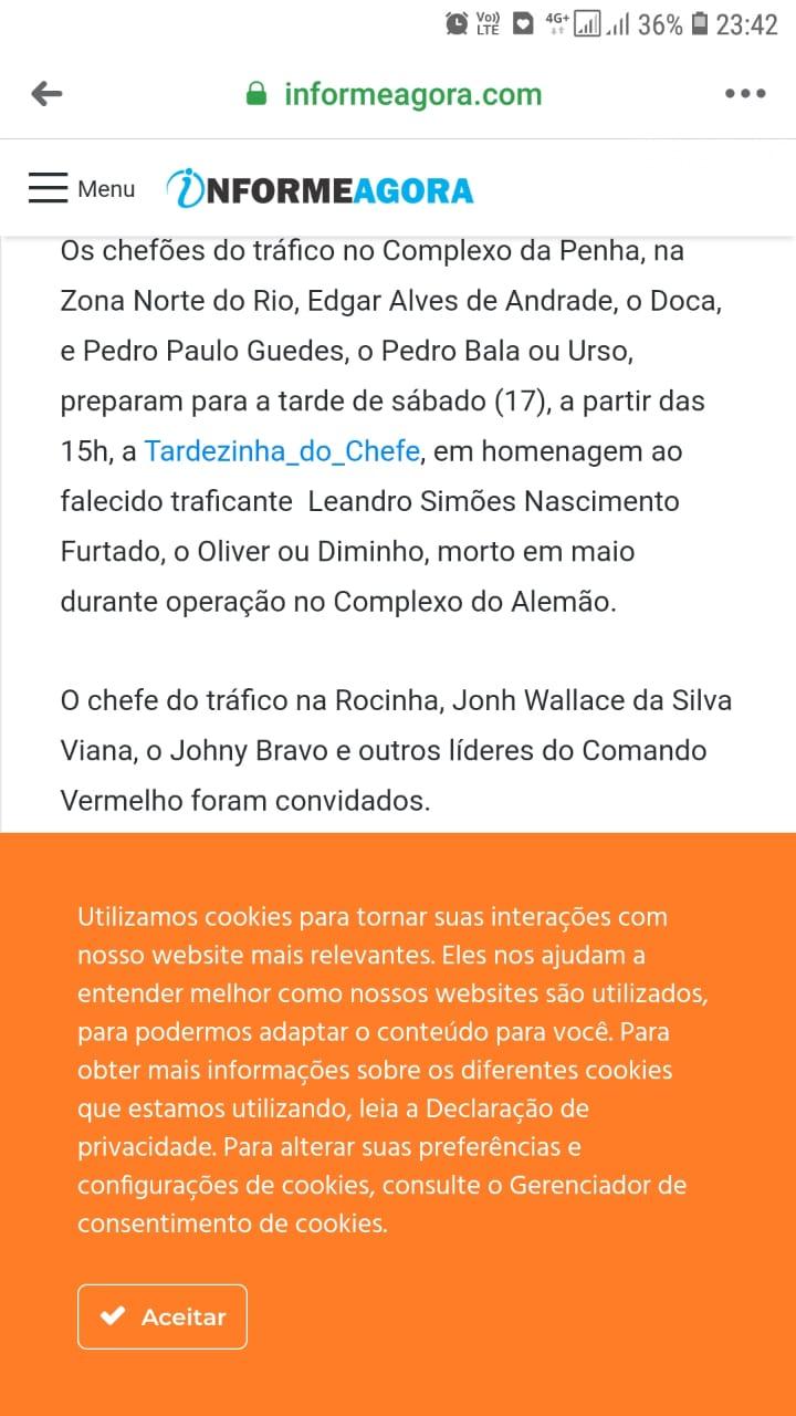 O evento Tardezinha do Chefe, NÃO É organizado por traficantes no Complexo da Penha