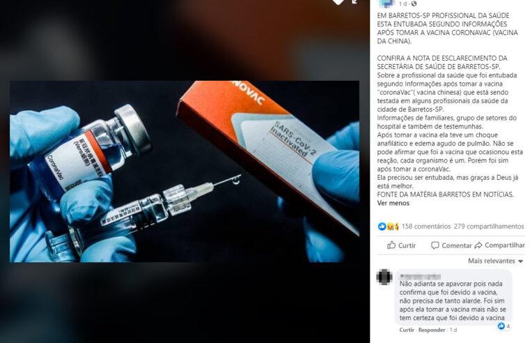 Profissional de saúde NÃO foi entubada após tomar vacina chinesa contra Covid-19
