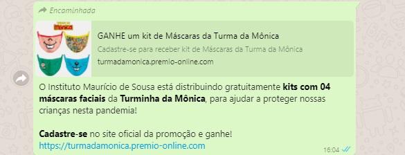 Instituto Mauricio de Sousa estaria distribuindo kits com máscaras da Turma da Mônica