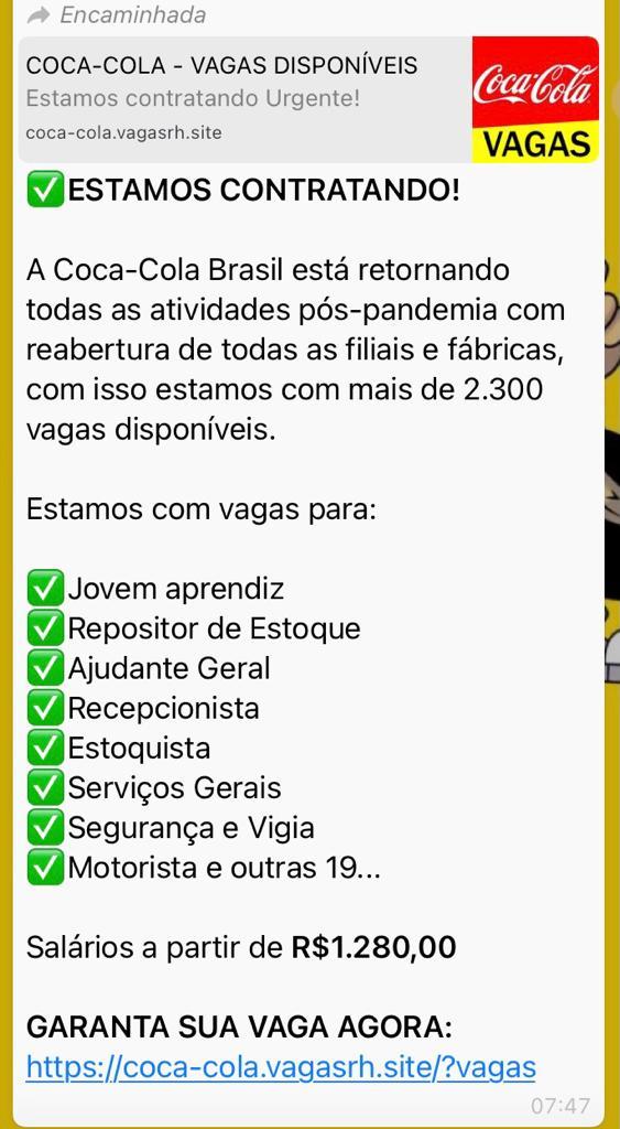 Coca-Cola Brasil NÃO está disponibilizando mais de 2.300 vagas de emprego