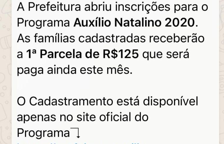 Prefeitura NÃO abre inscrições para programa Auxílio Natalino 2020