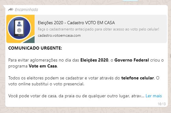 Governo Federal NÃO lançou aplicativo para eleitores votarem de casa