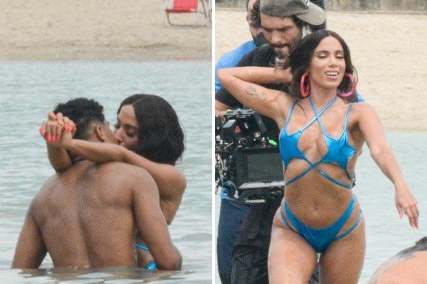 Cantora Anitta grava clipe no Piscinão de Ramos, no Complexo da Maré