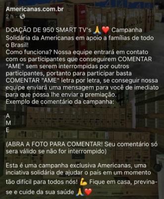 Lojas Americanas NÃO está doando 950 smarts TVs em campanha solidária