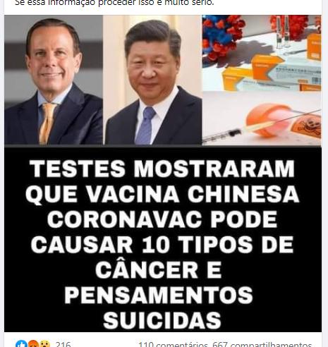 CoronaVac NÃO causa câncer e nem pensamentos suicidas