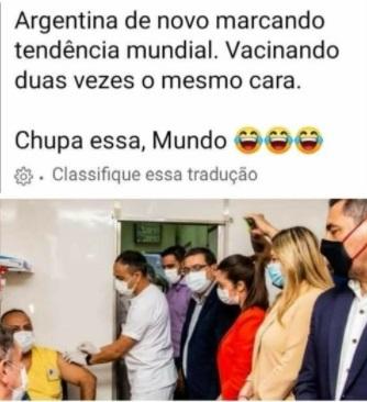 Homem NÃO recebeu vacina contra Covid-19 duas vezes em postos diferentes na Argentina