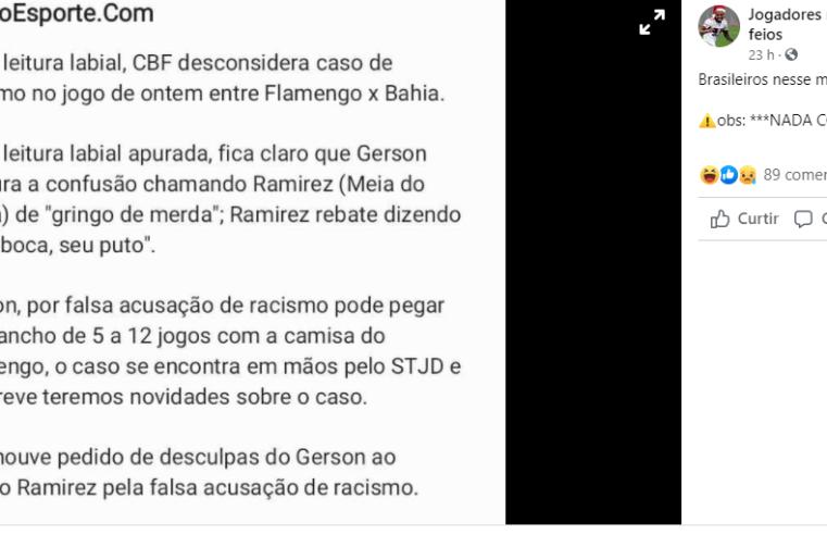 CBF NÃO desconsiderou caso de racismo no jogo do Flamengo contra Bahia