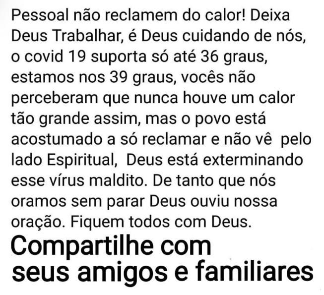 Calor NÃO mata o novo coronavírus
