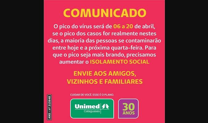 Card da Unimed alertando para pico de casos de Covid-19 no Brasil é antigo