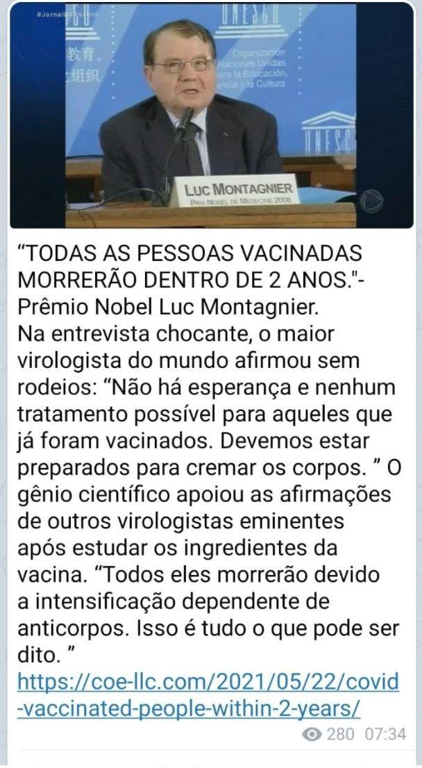 Vacina contra Covid-19 NÃO causará morte de imunizados em dois anos