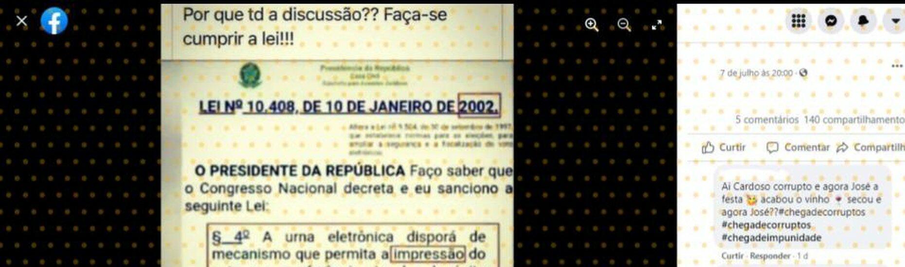 Voto impresso NÃO é lei obrigatória no Brasil