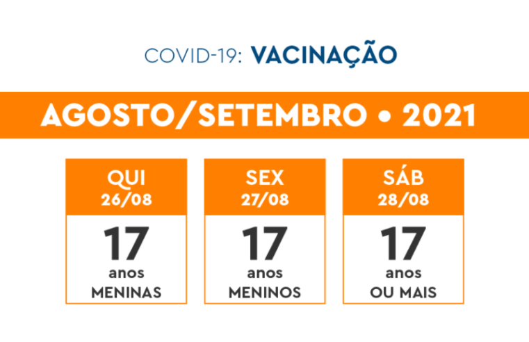 Veja o calendário de vacinação contra a Covid-19 da semana de 26 a 28 de agosto
