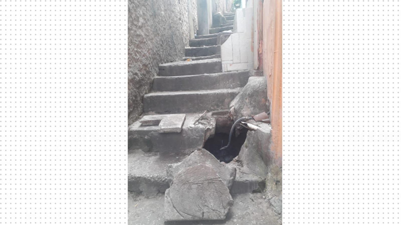 """""""Morar nessasituação tem sido muito ruim"""", relata morador sobre buraco na Alvorada, no Alemão"""