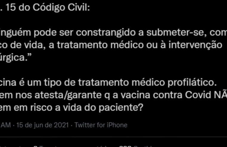 É FALSO que lei do Código Civil protege quem não quer se vacinar
