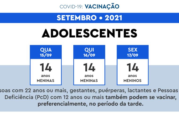 Adolescentes de 14 anos começam a ser vacinados contra Covid-19 nesta quarta-feira (15)