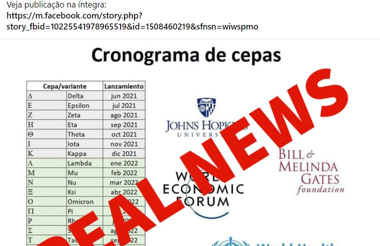 OMS NÃO criou cronograma de futuras cepas do novo coronavírus